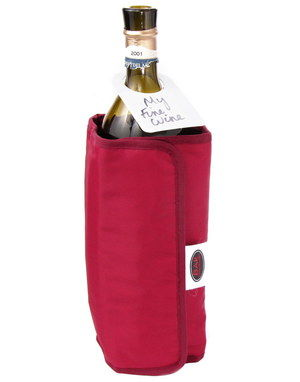 Dual Wrap Single Bottle Wine Chiller In Red Finish