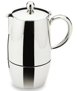 Brushed Steel Coffee Espresso Maker With Round Grip