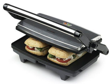 Hinge Lid 3 In 1 Sandwich Maker In Brushed Steel