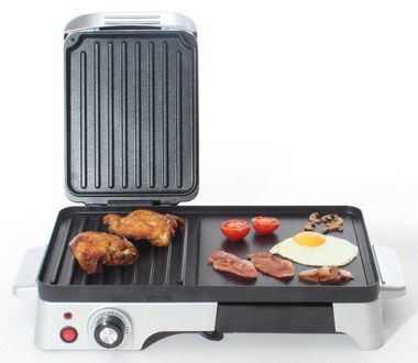 Hinged Cover Small Indoor Grill In White And Black