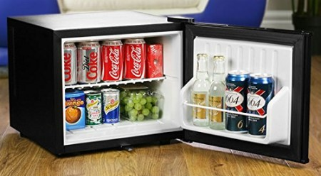 ChillQuiet Quiet Locking Mini Fridge In Black With Open Door
