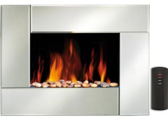 Wall Hanging Electric Fire In Silver Impact