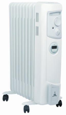 Oil Filled Radiator With Timer In White Finish