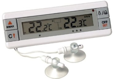 Fridge And Freezer Twin Sensor Alarm Thermometer In All White