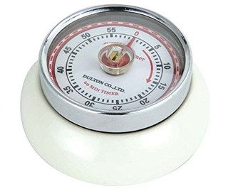 Clockwork Magnetic Retro Kitchen Timer With Cream Exterior