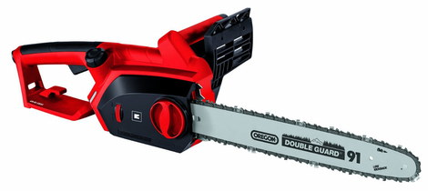 Electric Chain Saw In Black And Bright Red