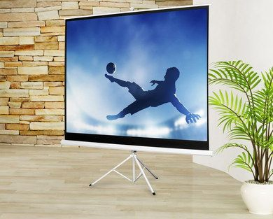 Tripod Mobile Projector Screen On Wood Floor