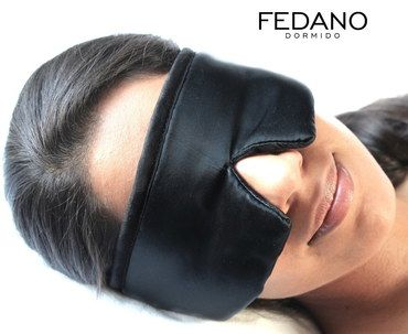 Fedano Real Silk Eye Cover For Sleeping In Black Textile
