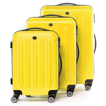 Lightweight 4 Wheel Suitcase In Yellow Finish