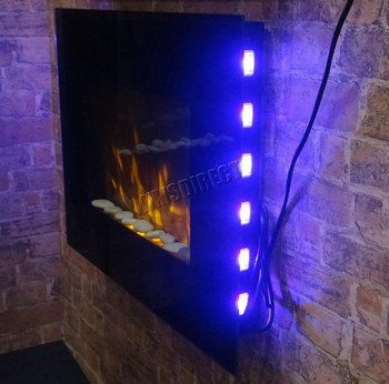 Wall Mounted Electric Fire With Back Blue LED