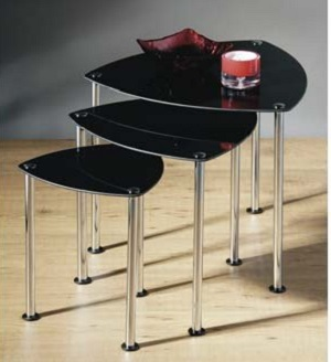Group Of 3 Black Glass Tables With Polished Steel Legs