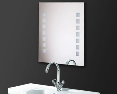 HOMCOM Eco-Friendly Bathroom Mirror With LED Light With Cream Sink