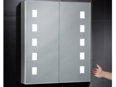 Illuminated Bathroom Mirrored Cabinet On Black Wall