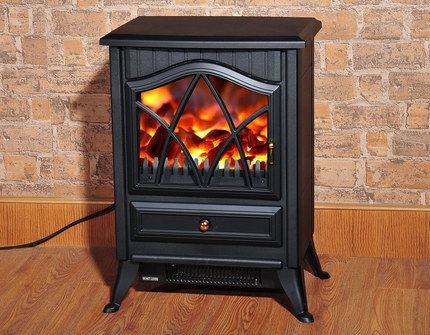 Electric Log Burner Fireplace On Wood Floor