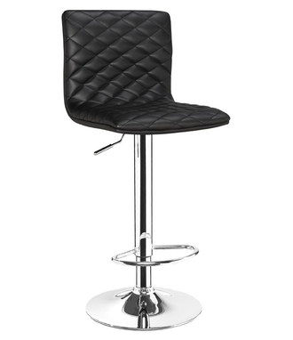 Comfy Adjustable Height Bar Stool With Quilted Black Seat