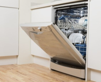 A+ Free Standing Dishwasher With Door Open