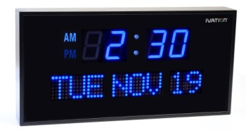 Large Digital Calendar Clock With Big Blue Numbers