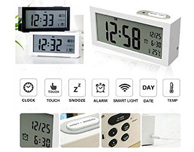 Digital Sensor LCD Clock Alarm In Black And White