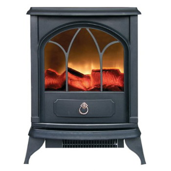 Electric Wood Burner Effect Stove In Black Metal