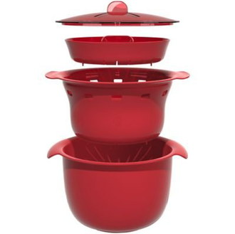 Small Vegetable Steamer For Microwave In Red Exterior