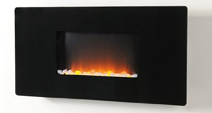 Mounted Electric Heater Fire With Wide Black Panel