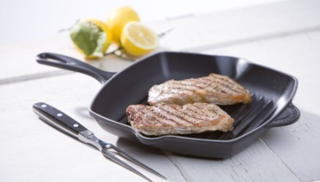 Square Grillit Griddle In Black With Steaks
