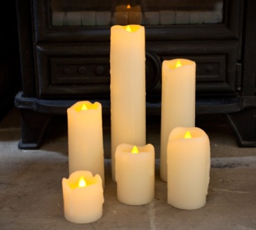 6 LED Flameless Candles Beside Fireplace