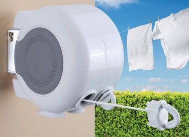 Dual Retractable Clothes Line Outdoor In Grey And White