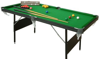 Steel Frame 6 Foot Pool Table With Snooker In Black Wood