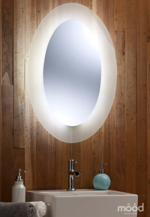 Neue Design LED Lit Bathroom Mirror With Wood Background