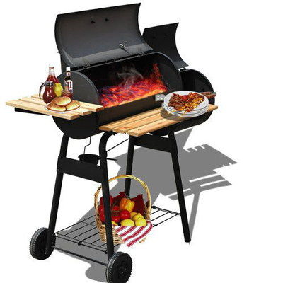 Portable Charcoal BBQ With Veg On Tray
