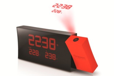 PRYSMA Radio Projection Alarm Clock In Black And Bright Red