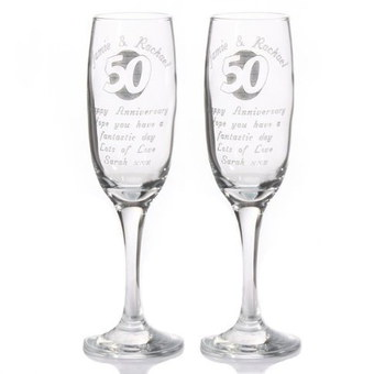 Personalised Glasses 50th Anniversary Showing 2 Together