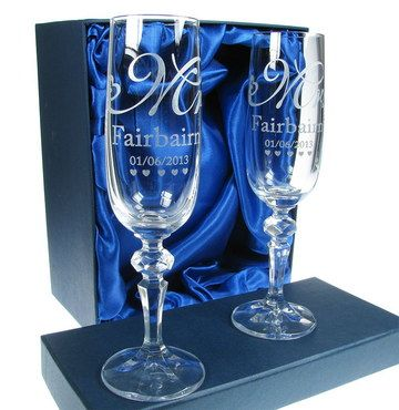 Personalised Wedding Champagne Glasses With Stylish Blue Silk
