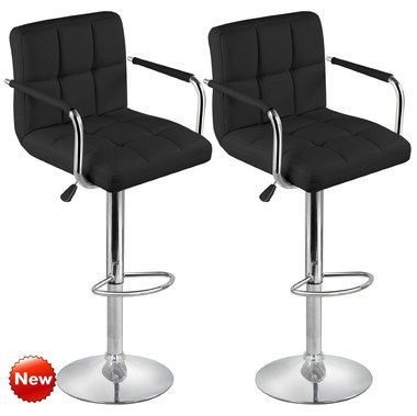 Bolstered 2 Bar Chairs With Backs With Curved Foot Rest