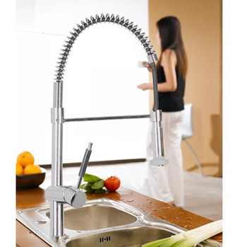 Professional Brushed Steel Kitchen Mixer Tap With Spring Feature