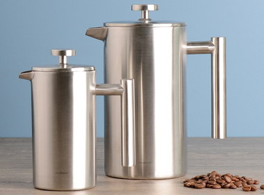 Stainless Steel Cafetiere 8 Cup With Coffee Beans