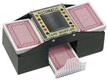Press Button Casino Card Shuffler In Brown Casing