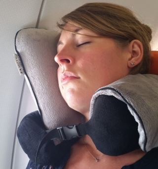 Neck Rest Pillow For Travel Worn By Girl On Plane