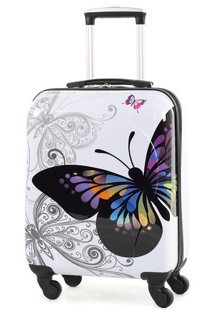 Rock Miro Hand Luggage Suitcase Size With Butterfly Design