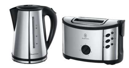 Retro Kettle Toaster Set In Black And Chrome Effect