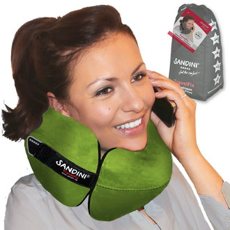 Unisex Comfy Travel Pillow In Green Textile