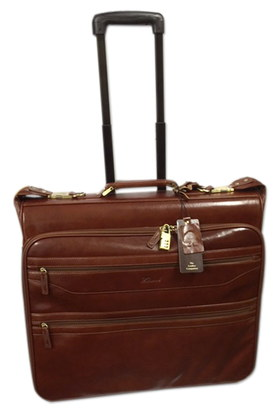 Soft Grain Leather Mens Suit Carrier In Cognac Colour