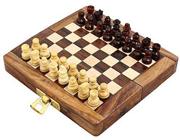 Magnetic Folding Chess Board In Wooden Box