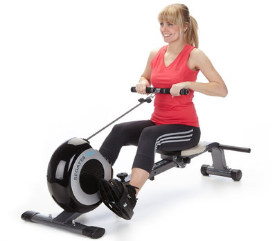 Foldable Rowing Machine Used By Woman