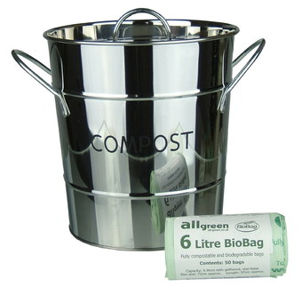 Steel All-Green Polished Kitchen Compost Caddy In Smooth Finish