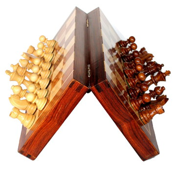 Wooden Magnetic Chess Set On It's Side