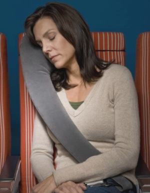 Airplane Neck Pillow Worn Accross Woman's Body