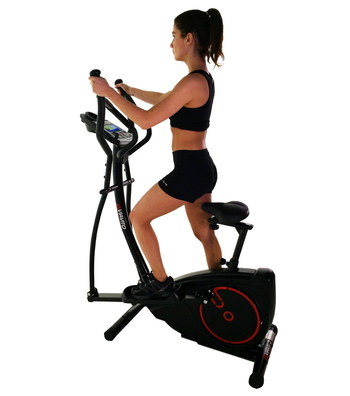 Elliptical Trainer Bike In Black And Red Metal