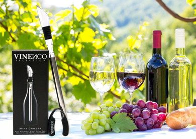 Durable Steel Tabletop Wine Cooler Stick Beside Red Grapes
